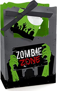 Big Dot of Happiness Zombie Zone - Halloween or Birthday Zombie Crawl Party Favor Boxes - Set of 12