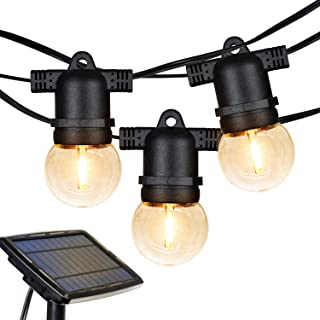 Hykolity 27FT Outdoor LED Solar Globe String Lights with 12 Hanging Sockets, Dimmable 12x1 Vintage Edison Bulbs, Warm White, Commercial Grade Waterproof Solar Balcony Lights for Backyard Porch Pergola
