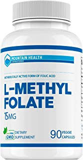 Mountain Health L-Methylfolate 15 mg 90Cts, Highest Grade Methylfolate, Metabolically Active Form of Folic ...