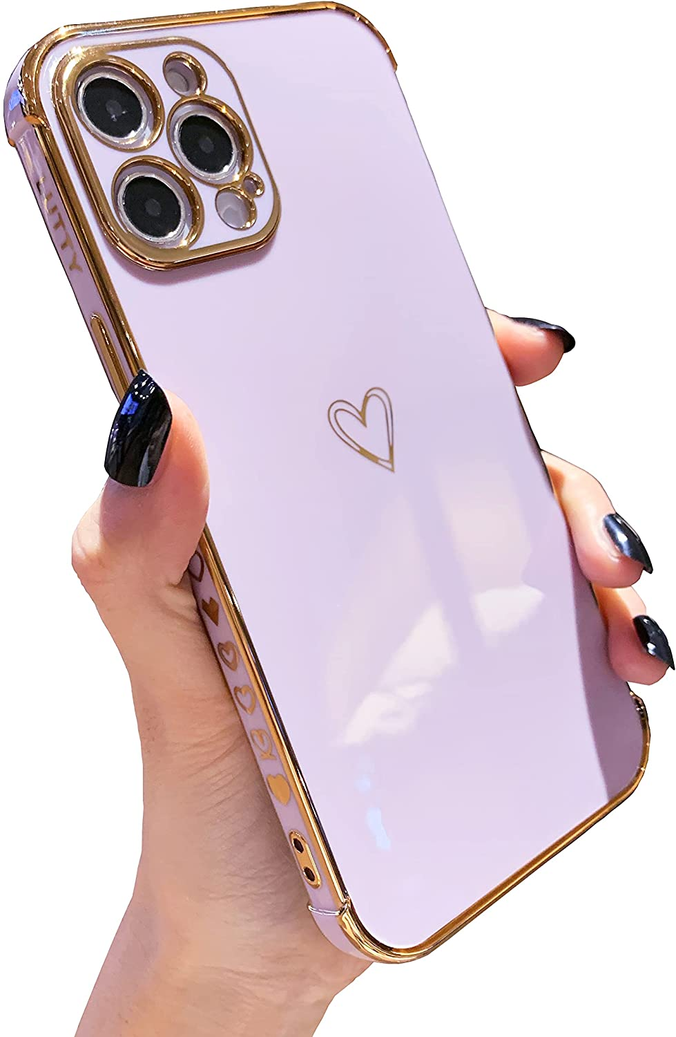 LUTTY Compatible with iPhone 12 Pro Max Case, Cute Luxury [Camera Lens Protection & Military Grade Drop Protection] Soft TPU Electroplate Edge Bumper Cases Cover for Women (6.7 inch) -Candy Purple