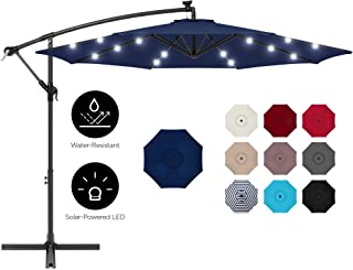 Best Choice Products 10ft Solar LED Offset Hanging Outdoor Market Patio Umbrella w/Easy..