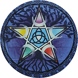 Pentagram Wicca Wiccan Blue Round Rug Art Deco Non Slip Washable Round Area Rug Living Room Bedroom Study Children Playroom Super Soft Carpet Floor Mat Feet 23.6211.81inch