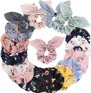 Ondder 18 Pack Scrunchies for Hair, Hair Scrunchies for Women Bow Scrunchies for Hair Floral Scrunchies Silk Scrunchies Bunny Ear Scrunchies Chiffon Scrunchies Cute Scrunchies