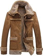 chouyatou Men's Insulated Full-Zip Windproof Sherpa Lined Suede Leather Trucker Jacket