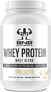 BNB 100% Whey Protein - Cake Batter Flavor - 21g of Protein per Serving - 2lb Tub - Mixes Easily - Delicious Protein Recovery Shake - by BNB Supplements