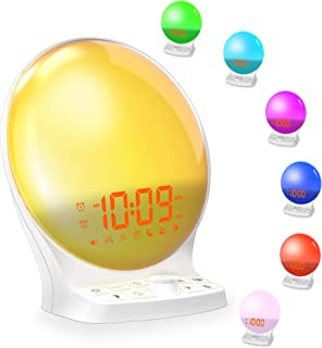 Sunrise Alarm Clock with FM Radio for Kids, Wake up Light with USB Chargers Dimming, 7-Color Night Light, Light up Timer, 9 Nature Sounds Soothing Machine, LED Loud Alarm for Heavy Sleepers, Bedroom