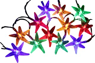 Mini Skater 2M 20 Led Colorful Starfish Shape Battery Operated Beach Style Decorative Lighting String Lights Set for Beach Party,Porch,Patio, Home Decorations. (Colorful)