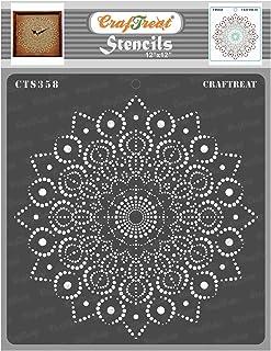 "CrafTreat Stencil - Peacock Dot Mandala 12"" | Reusable Painting Template for Art and Craft, Mixed Media, Wall Painting, Ho..."