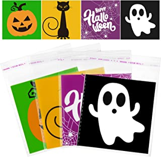 URATOT 300 Pack Halloween Self Adhesive Candy Bags Clear Snacks Candy Bags Halloween Trick or Treat Bags Halloween Party F...