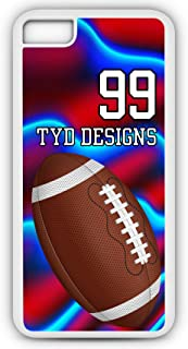 iPhone 6s Football Case Fits iPhone 6s or iPhone 6 Build Your Own Design Tough Cell Phone Case with Any Jersey Number Team Name in White Plastic Black Rubber F1063 by TYD Designs