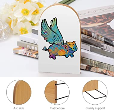 Flying Pig Tiedye Book Ends for Shelves Wooden Bookends Holder for Heavy Books Divider Modern Decorative 1 Pair
