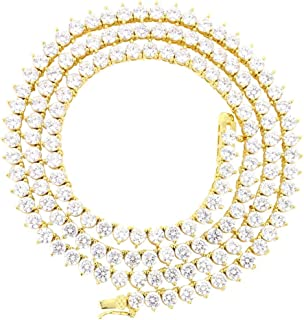 Unisex 1 Row 14K Gold Finish Lab Created Diamonds 4MM Thick 3 Prong Stone Tennis Necklace Chain 18-24 Inches Iced Out Solitaires
