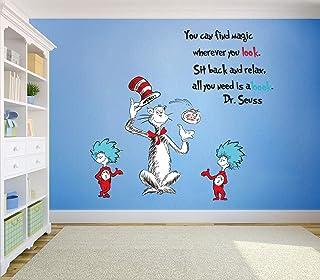Runtoo Pegatinas de Pared Dr.Seuss Stickers Adhesivos Vinilo Letras Frases Decorativas Infantiles Habitacion Bebe