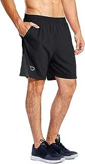 "Baleaf Men's 7"" Quick Dry Workout Running Shorts Mesh Liner Zip Pockets"