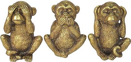 Sagebrook Home 15111 Set of 3 Polyresin No Hear/Speak/See Monkeys, Gold