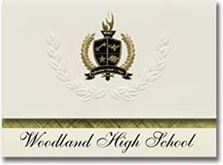 Signature Announcements Woodland High School (Cartersville, GA) Graduation Announcements, Presidential style, Basic package of 25 with Gold & Black Metallic Foil seal