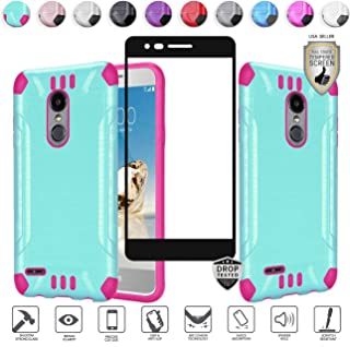 MYFAVCELL Compatible for LG Aristo 3 Plus/3/2,Fortune 2,K8,Phoenix 4,Rebel 3/4,Risio 3,Tribute Empire, Zone 4 Case with Tempered Glass, Heavy Duty [Shock Proof] Hybrid (Teal/Hot Pink)