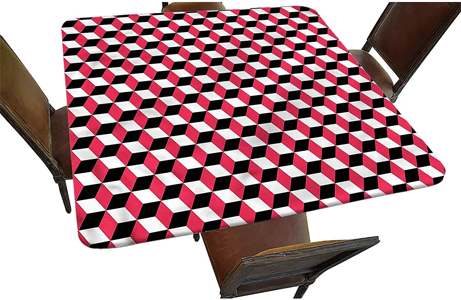 Decorative Max 43% OFF Elastic Edged Factory outlet Square Cube Geometric Fitted Tablecloth