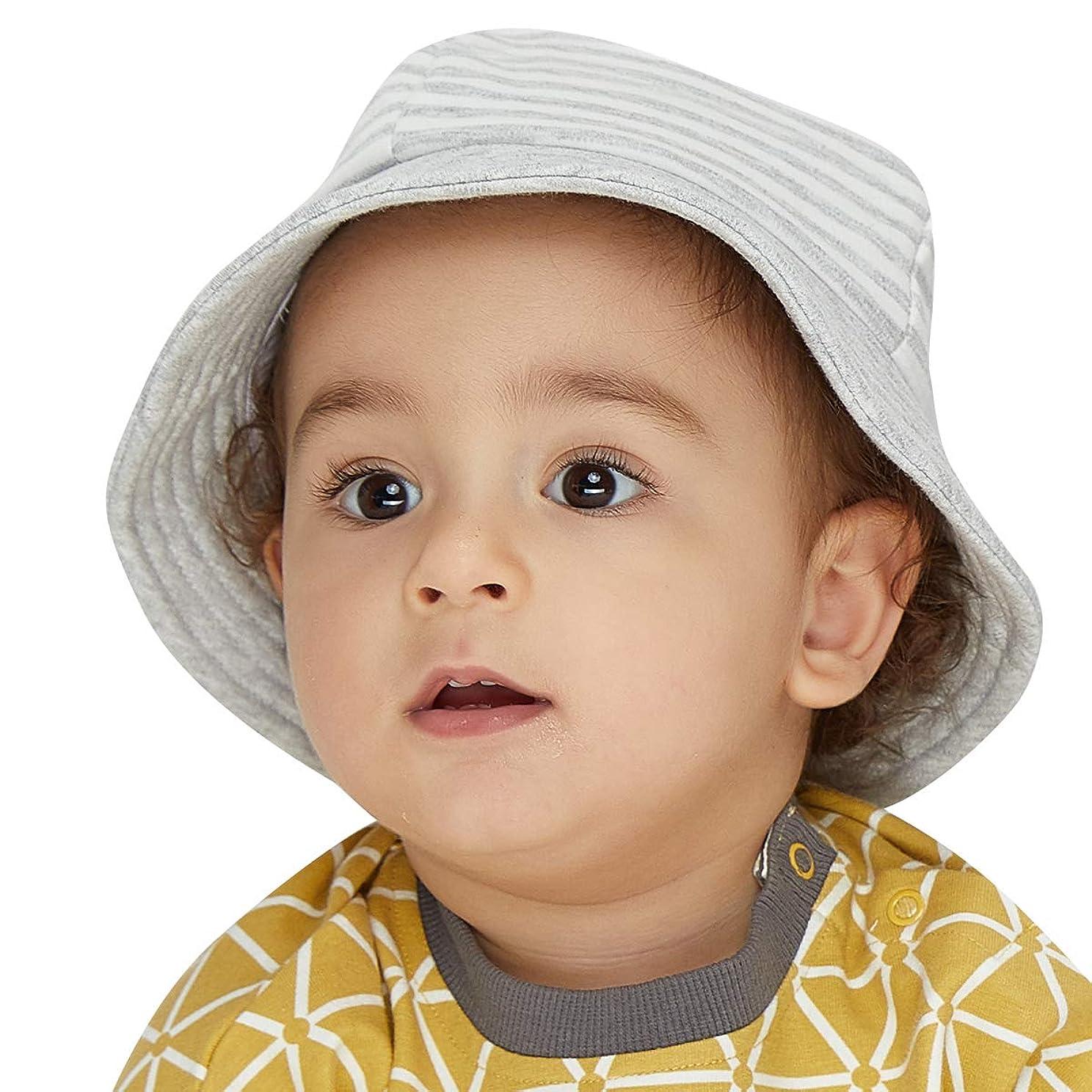 シミュレートする珍味湿度LETTAS(レッタス) ベビー 帽子 赤ちゃんキッズ ハット 女の子 男の子 つば広 日よけ 綿 サファリハット チューリップハット 春 夏 お出かけ (グレー, 38-42cm(新生児~1才))