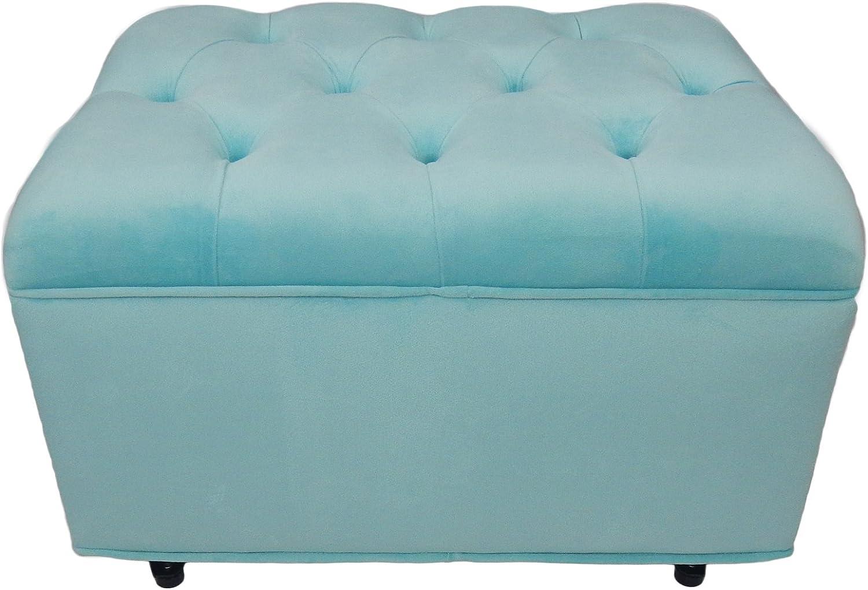 Fun Furnishings Tres Under blast sales Chic Tiffany New sales Aqua Ottoman