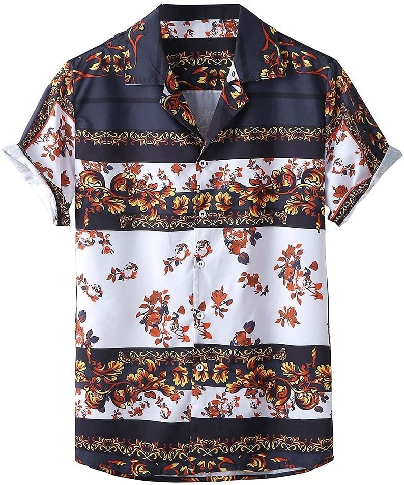 HLMSKD Mens Ethnic Style Shirts Sleeve Recommended Floral Print Short Beach Sales for sale
