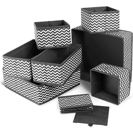 ilauke Boite Rangement, 8pcs Boîtes de Rangement Ouvertes en Textile Non-Tissé, Tiroir en Tissu,Cube de Rangement Pliable Coffre pour Linge, Jouets, Vêtement, avec poignées en Cuir et Etiquettes
