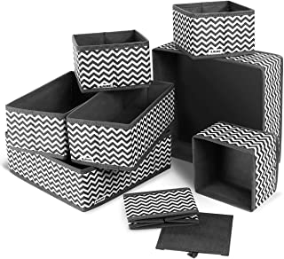 ilauke Boite Rangement, 8pcs Boîtes de Rangement Ouvertes en Textile Non-Tissé, Tiroir en Tissu,Cube de Rangement Pliable ...