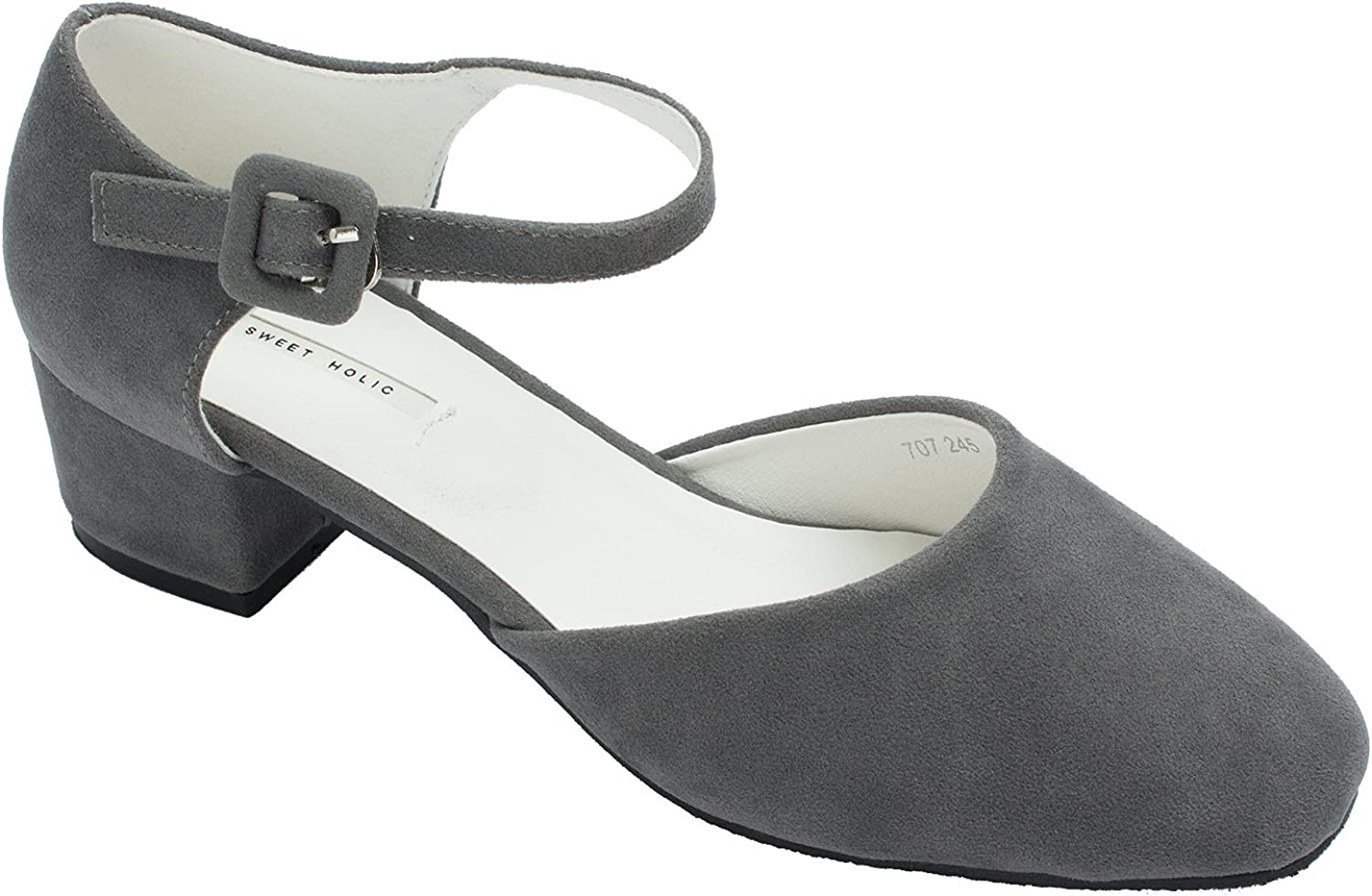 Sweet Holic Womens Faux Suede Ankle Strap Pumps