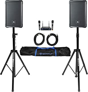 "2 JBL IRX108BT 8"" 1000w Powered DJ Portable PA Speakers w/Bluetooth+Stands+Mics"