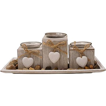 Khevga Bandeja para portavelas de madera gris, negro y blanco con corazones