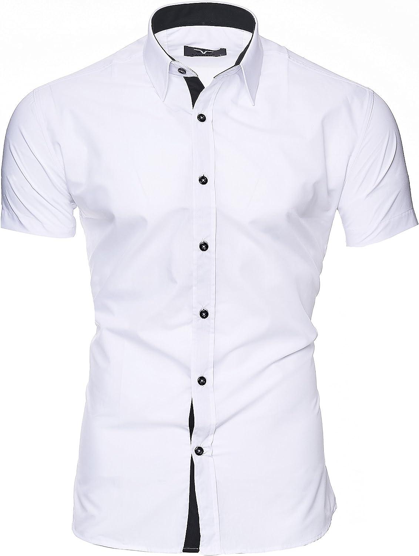Kayhan Camisas Hombres Camisa Hombre Manga Corta Ropa Camisas de Vestir Slim fácil de Hierro Fit S M L XL XXL-6XL - Modello Caribic