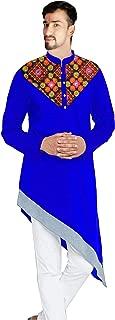 Lakkar Haveli Men's Embroidered Kurta Indian Trail Cut Shirt Casual Tunic Royal Blue Plus Size