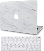 LuvCase 2 in 1 Bundle Plastic Hard Shell Case with Keyboard Cover Compatible Newest MacBook Pro 13 inch A2159/A1989/A1706/A1708 with/Without Touch Bar, 2019/18/17/16 Release (Silk White Marble)