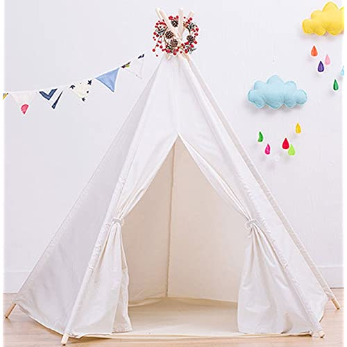 Large Cotton Canvas White Teepee Tent for Kids Teepee Tent Indoor Outdoor  8fdf8d7722f