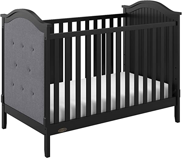 Graco Linden Upholstered 3 In 1 Convertible Crib Black Gray Easily Converts To Toddler Bed Day Bed 3 Position Adjustable Height Mattress