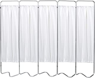 Omnimed 153055-WH 5 Panel S-Base Privacy Screen w White Vinyl Panels