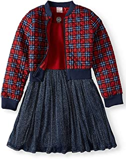 Dress and Quilted Plaid Bomber Jacket 2-Piece Outfit Set