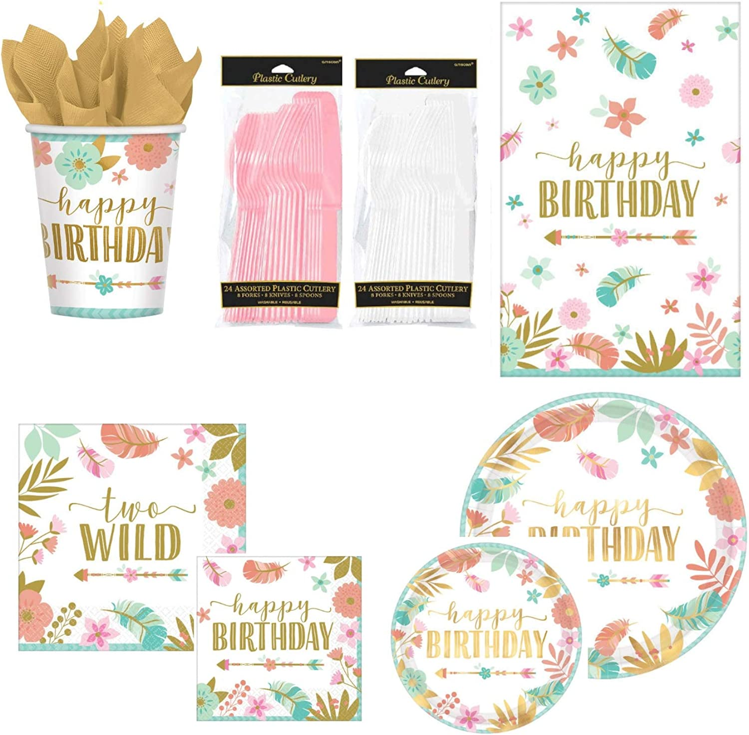 BOHO 2nd Birthday Party Supplies Pack For 16 Guests Baby Girl Two Wild Theme Standard ParteePak Fa268a