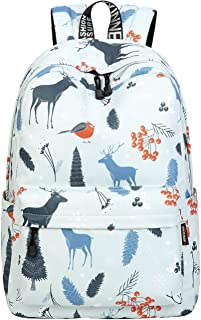 School Bookbags for Girls, Cute Deers Backpack College Bags Women Daypack Travel Bag by Mygreen (Light Cyan)