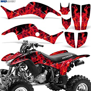 Wholesale Decals ATV Graphic Kit Sticker Decals Compatible with Honda TRX400EX 1999-2007 - Flames Red