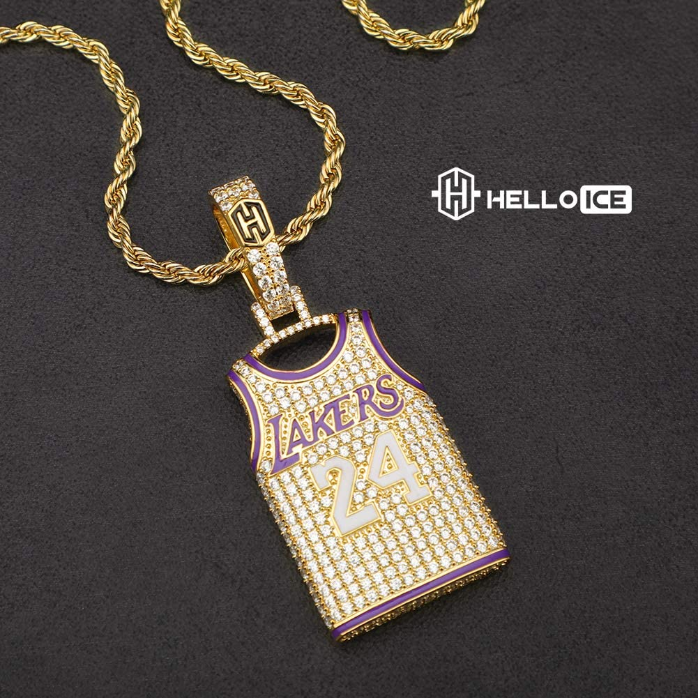 Amazon.com: HELLOICE Iced Lakers 24 Jersey Necklace for Women Men ...