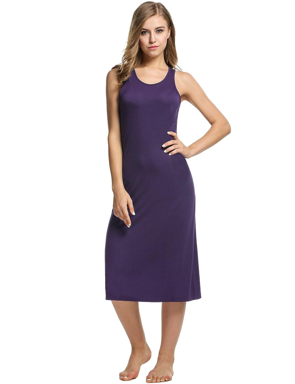 Avidlove Womens Cotton Gown Sleeveless Nightshirt Sleepwear Racerback Bodycon Dress