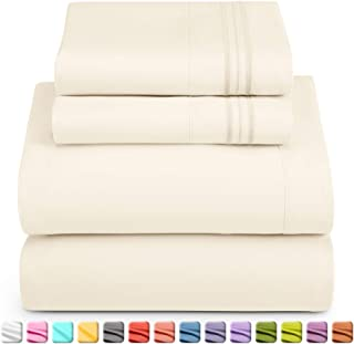 Nestl Luxury Queen Sheet Set - 4 Piece Extra Soft 1800 Microfiber-Deep Pocket Bed Sheets with Fitted Sheet, Flat Sheet, 2 Pillow Cases-Breathable, Hotel Grade Comfort and Softness - Off White
