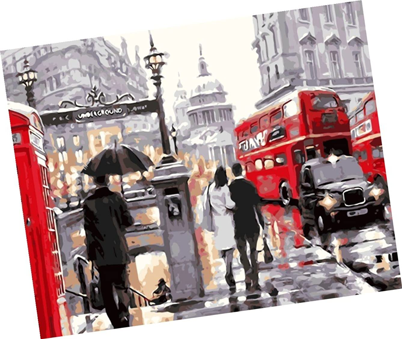 Wowdecor Paint by Numbers Kits for Adults Kids, Number Painting - London Bustling Streets 16x20 inch (Frameless)