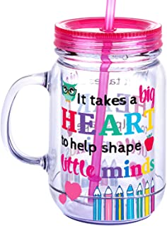 Teacher Appreciation Gifts Tumbler Jar - Unique Teacher Gifts for Women/Men - It Takes a Big Heart to Help Shape Little Minds - 20oz Double Wall Acrylic Insulated Mason Jar Tumbler with Straw & Brush