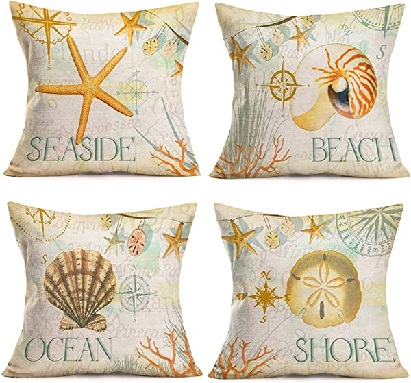 Smilyard Vintage Ocean Throw Pillow Covers Marine Life Starfish Conch Shell Decorative Throw Pillow Case Cotton Linen Nautical Compass Pattern Pillow Cover 18x18 Inch Set Of 4 Yellow Sea Set