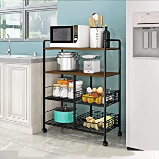 Kitchen Storage Trolley, 4 Tiers Metal Microwave Racks Multi-purpose Rolling Cart, with Hooks Mesh Baskets Wheels,for Offi...