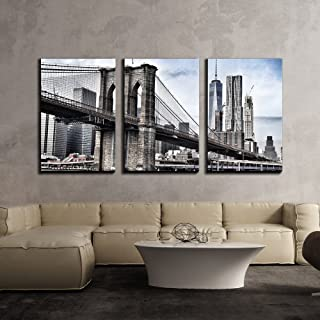 wall26 - 3 Piece Canvas Wall Art - Brooklyn Bridge in Vintage Color,New York - Modern Home Decor Stretched and Framed Ready to Hang - 16