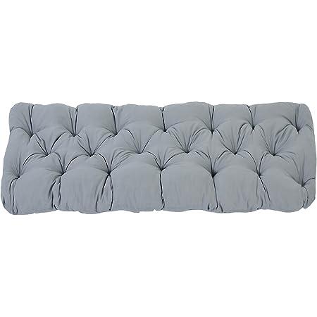 Ambientehome EVJE Coussin de banc de jardin en coton, 120 x 50 x 8 cm, ton gris clair