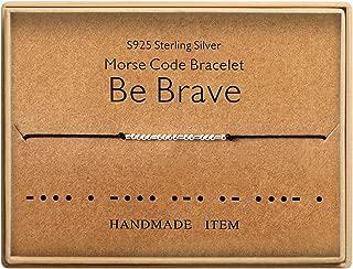Be Brave Morse Code Bracelet Sterling Silver Beads on Silk Cord inspirational Gift Birthday Gift for women Girls